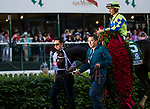 LOUISVILLE, KY - MAY 06: Always Dreaming #5 with John  Velazquez aboard with the blankety of roses after winning the Kentucky Derby at Churchill Downs on May 6, 2017 in Louisville, Kentucky. (Photo by Alex Evers/Eclipse Sportswire/Getty Images)
