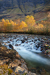 Glencoe, Scotland: River Coe flowing through highland hills in autumn