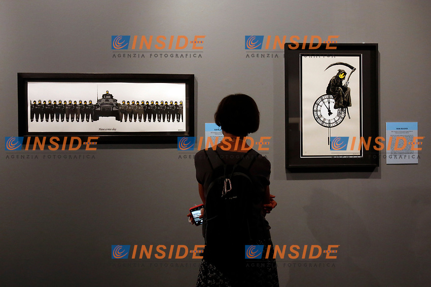 Exhibition of the artist Bansky, titled A visual Protest, at Chiostro del Bramante in Rome. In the picture the painting Grin Reaper<br /> Rome (Italy), September 10th 2020<br /> Photo Samantha Zucchi Insidefoto