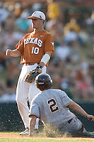 Texas Longhorns shortstop Brandon Loy #10 watches helplessly as Arizona State Sun Devls baserunner Zach McPhee #2 slides into second during their NCAA Tournament Super Regional baseball game on June 10, 2011 at Disch Falk Field in Austin, Texas. (Photo by Andrew Woolley / Four Seam Images)