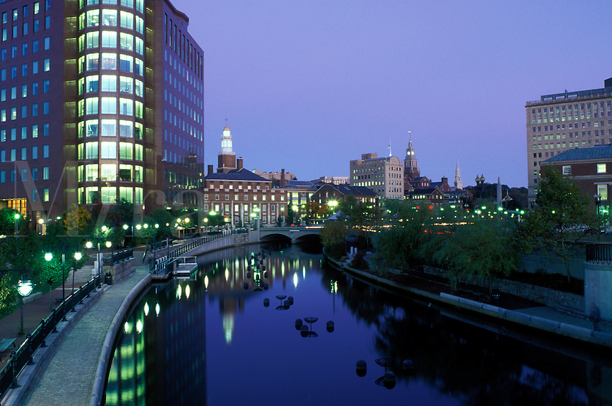 Providence, Waterplace Park, Rhode Island, RI, Buildings at night along the Woonasquatucket River at Waterplace Park in downtown Providence.