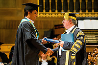 "Monday 10 July 2017<br /> Pictured: Chris Coleman Receiving his Honorary Fellowship from Professor Medwin Hughes <br /> Re: Wales Football Manager, Chris Coleman was today (Monday, July 10th) awarded an Honorary Fellowship by the University of Wales Trinity Saint David (UWTSD) during the first of its Swansea graduation ceremonies in the city's Brangwyn Hall. <br /> Chris Colman 2<br /> <br /> On receiving the award, Chris Coleman said:  ""I've failed as many times as I've achieved but it's not about that, it's about self-belief and perseverance.   You'll have so many doubters along the way - if you haven't got belief in yourself you don't go a long way.  If you haven't got perseverance, your talent doesn't get you through.  If you think you can't, you won't.<br /> <br /> ""Everything I've ever achieved, I've had good people around me.  We've got a good saying, I can't but we can.  Make sure the 'we' are the people you want around you.<br /> <br /> ""With us, I'm the front man, I'm the one who speaks to the media; I pick the team and make the big decisions but I've got a team of people around me to help me with almost everything so I have to delegate well and listen to the good advice.  Surround yourself with good people.  Never be in a comfort zone or you won't achieve anything.<br /> <br /> ""I'm not telling you this because I read it in a book; because I saw it on TV or because someone told me.  I'm telling you because it's my experience."""