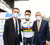 Picture by Simon Wilkinson/SWpix.com - 27/09/2020 - Cycling - UCI 2020 Road World Championships IMOLA - EMILIA-ROMAGNA ITALY - Road Race Elite Men - UCI President David Lappartient, Julian Alaphilippe of France and International Olympic Committee President Thomas Bach. - SANTINI