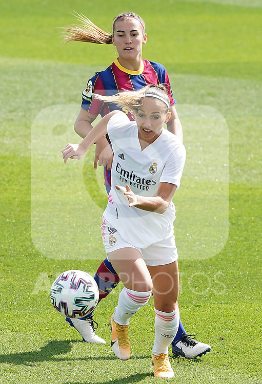 First official match and first classic in the history of women's Real Madrid.<br /> Real Madrid's Kosovare Asllani (f) and FC Barcelona's Patri Guijarro during Spanish Female League match. October 4,2020. (ALTERPHOTOS/Acero)