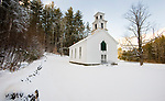 COLEBROOK, CT-122517JS11---Freshly fallen snow covers the grounds and makes for a picturesque scene at the 150-year-old historic Church in the Wildwood in Colebrook on Monday. A fast moving snow storm dropped around three inches of snow throughout the northwest corner of the state. <br /> Jim Shannon Republican-American