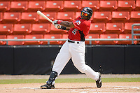 Eric Fry #4 of the Hickory Crawdads follows through on his swing versus the West Virginia Power at L.P. Frans Stadium August 9, 2009 in Hickory, North Carolina. (Photo by Brian Westerholt / Four Seam Images)