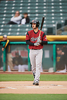 Steven Duggar (14) of the Sacramento River Cats bats against the Salt Lake Bees at Smith's Ballpark on April 19, 2018 in Salt Lake City, Utah. Salt Lake defeated Sacramento 10-7. (Stephen Smith/Four Seam Images)