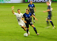 CARSON, CA - OCTOBER 14: Florian Jungwirth #23 of the San Jose Earthquakes turns with the ball during a game between San Jose Earthquakes and Los Angeles Galaxy at Dignity Heath Sports Park on October 14, 2020 in Carson, California.