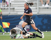 Lisa De Vanna#17 of the Washington Freedom loses the ball to Jenni Branam#23 of Sky Blue FC during a WPS match at Maryland Soccerplex on August 8,2009 in Boyds, Maryland.