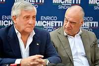 The europarlamentarian Antonio Tajani of Forza Italia party and the candidate mayor of Rome for the right-center coalition Enrico Michetti attend an electoral campaign press conference for the mayoral election in Spinaceto, a peripheral neighborhood in the west of Rome on October 1st 2021. Photo Andrea Staccioli Insidefoto