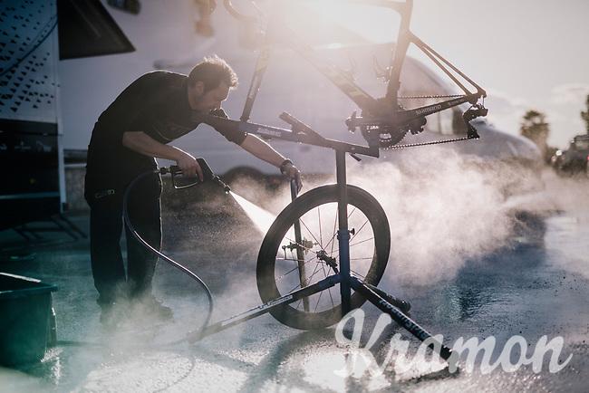 mechanics at work at the 2018 Michelton-Scott training camp in Almeria, Spain