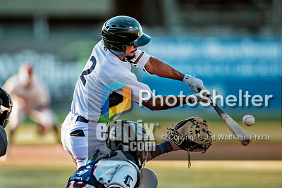 19 June 2018: Vermont Lake Monsters infielder Jesus Lage connects against the Connecticut Tigers at Centennial Field in Burlington, Vermont. The Lake Monsters defeated the Tigers 5-4 in the conclusion of a rain-postponed Lake Monsters Opening Day game started June 18. Mandatory Credit: Ed Wolfstein Photo *** RAW (NEF) Image File Available ***