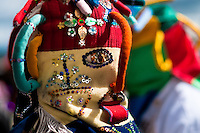 """A man dancer, wearing a colorful masque, performs Aya Uma - the creature from the Indian myths, during the Inti Raymi festival in Pichincha province, Ecuador, 26 June 2010. Inti Raymi, """"Festival of the Sun"""" in Quechua language, is an ancient spiritual ceremony held in the Indian regions of the Andes, mainly in Ecuador and Peru. The lively celebration, set by the winter solstice, goes on for various days. The highland Indians, wearing beautiful costumes, dance, drink and sing with no rest. Colorful processions in honor of the God Inti (Sun) pass through the mountain villages giving thanks for the harvest and expressing their deep relation to the Mother Earth (Pachamama)."""