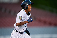 Connecticut Tigers shortstop Jose King (48) runs to first base during a game against the Hudson Valley Renegades on August 20, 2018 at Dodd Stadium in Norwich, Connecticut.  Hudson Valley defeated Connecticut 3-1.  (Mike Janes/Four Seam Images)