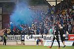 St Johnstone v Rosenborg....25.07.13  Europa League Qualifier<br /> Saints fans let off a blue flare<br /> Picture by Graeme Hart.<br /> Copyright Perthshire Picture Agency<br /> Tel: 01738 623350  Mobile: 07990 594431