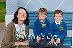 Elizabeth Lane Principal  with junior infants Sebastian Leenders left and Declan Culhane in Loughfouder NS Knocknagoshel on Tuesday