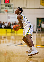 8 December 2018: University of Vermont Guard Ben Shungu, a Redshirt Sophomore from Burlington, VT, in first half action against the Harvard University Crimson at Patrick Gymnasium in Burlington, Vermont. The America East Catamounts overcame a 10-point 2nd half deficit, to defeat the Ivy League Crimson 71-65 in NCAA Division I inter-league play. Mandatory Credit: Ed Wolfstein Photo *** RAW (NEF) Image File Available ***
