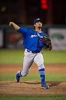 Ogden Raptors relief pitcher Gregorio Sequera (56) delivers a pitch during a Pioneer League game against the Orem Owlz at Home of the OWLZ on August 24, 2018 in Orem, Utah. The Ogden Raptors defeated the Orem Owlz by a score of 13-5. (Zachary Lucy/Four Seam Images)