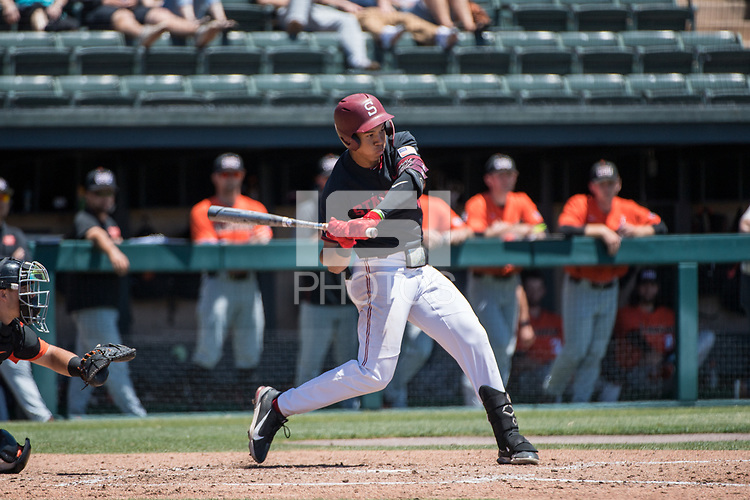 STANFORD, CA - MAY 29: Drew Bowser during a game between Oregon State University and Stanford Baseball at Sunken Diamond on May 29, 2021 in Stanford, California.