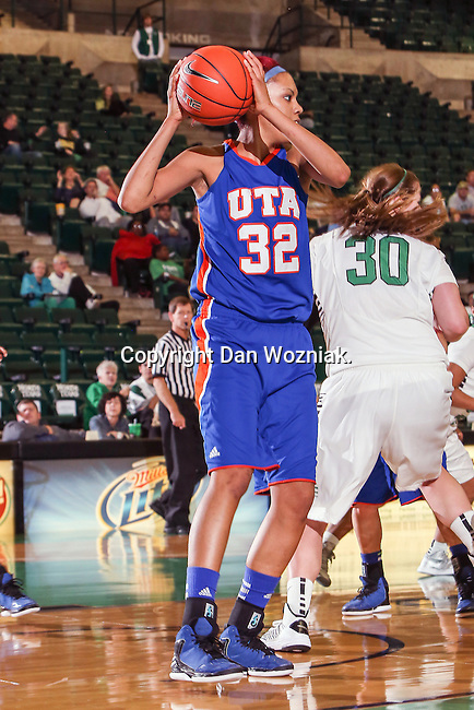Texas Arlington Mavericks forward Aron Garcia (32) in action during the game between the Texas Arlington Mavericks and the North Texas Mean Green at the Super Pit arena in Denton, Texas. UTA defeats UNT 59 to 50...