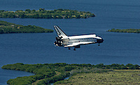 Space Shuttle Atlantis lands  at Kennedy Space Center, Titusville, FL, to conclude the STS 112 mission in October 2002.  (Photo by Brian Cleary/www.bcpix.com)