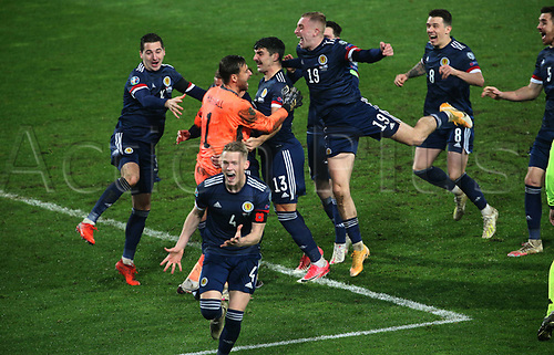 12th November 2020; Belgrade, Serbia; European International Football Playfoff Final, Serbia versus Scotland;  Scotland players celebrate victory after the penalty shootout with Kenny McClean, David Marshall, Callum Peterson, Oliver McBurnie, Ryan Jack, Scott McTominay