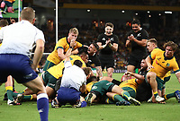 7th November 2020, Brisbane, Australia; Tri Nations International rugby union, Australia versus New Zealand;  Codie Taylor of The Allblacks is awarded a try