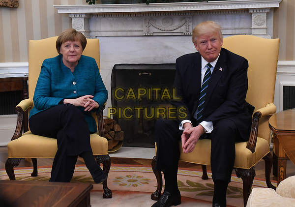 German Chancellor Angela Merkel (L) meets with U.S. President Donald Trump in the Oval Office of the White House in Washington, DC on March 17, 2017.      <br /> CAP/MPI/CNP/RS<br /> ©RS/CNP/MPI/Capital Pictures