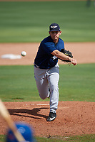 Lakeland Flying Tigers relief pitcher Drew Carlton (46) delivers a pitch during a game against the Dunedin Blue Jays on May 27, 2018 at Dunedin Stadium in Dunedin, Florida.  Lakeland defeated Dunedin 2-1.  (Mike Janes/Four Seam Images)