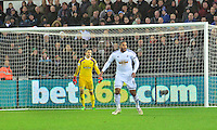 Pictured: Friday 26 December 2014<br /> Re: Premier League, Swansea City FC v Aston Villa at the Liberty Stadium, Swansea, south Wales, UK.<br /> <br /> Swansea's Goalkeeper Lucasz Fabianski and captain Ashley Williams