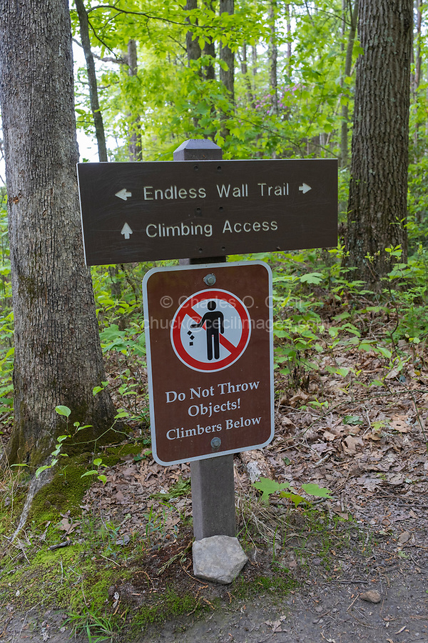 New River Gorge National Park, West Virginia.  Trail Sign on Endless Wall Trail.