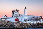Sunset at Nubble Light, Cape Neddick, York, ME, USA