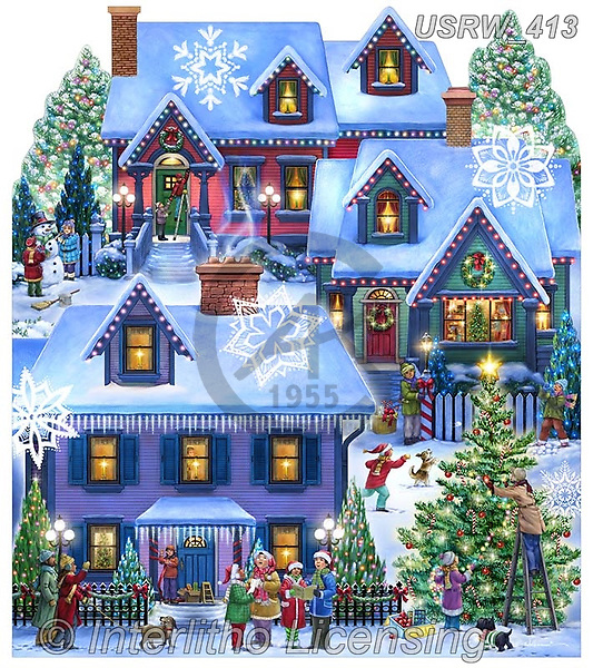 Randy, CHRISTMAS LANDSCAPES, WEIHNACHTEN WINTERLANDSCHAFTEN, NAVIDAD PAISAJES DE INVIERNO, paintings+++++,USRW413,#xl#