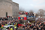 Swansea City FC open top bus parade outside the Brangwyn Hall in Swansea tonight during celebrating in the city after their Capital Cup win in Wembley at the weekend.