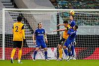 7th February 2021; Molineux Stadium, Wolverhampton, West Midlands, England; English Premier League Football, Wolverhampton Wanderers versus Leicester City; Jonny Evans of Leicester City clears the ball with a strong header