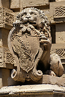 Mdina, Malta.  Carved Stone Lion and Coat of Arms Guards Entrance into Mdina.