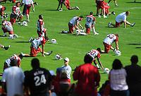 Jul 31, 2009; Flagstaff, AZ, USA; Fans look on as Arizona Cardinals players stretch during training camp on the campus of Northern Arizona University. Mandatory Credit: Mark J. Rebilas-