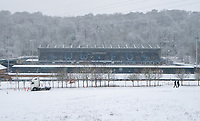 General view of Adam Park Stadium in snow ahead of the FA Cup fixture with Wycombe Wanderers v Tottenham Hotspur  - Snow and bad weather hits High Wycombe during the  at  on the 24 January 2021. Photo by Andy Rowland.