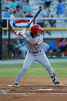 Greeneville Reds first baseman Rylan Thomas (37) at bat during a game against the Burlington Royals at the Burlington Athletic Complex on July 7, 2018 in Burlington, North Carolina.  Burlington defeated Greeneville 2-1. (Robert Gurganus/Four Seam Images)
