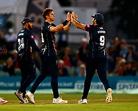 Fred Klaassen (L) of Kent is congratulated by Grant Stewart after taking the wicket of Matt Taylor during Kent Spitfires vs Gloucestershire, Vitality Blast T20 Cricket at The Spitfire Ground on 13th June 2021