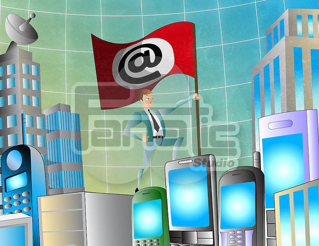 Businessman holding 'at' symbol flag standing on cell phones