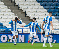 20th February 2021; The John Smiths Stadium, Huddersfield, Yorkshire, England; English Football League Championship Football, Huddersfield Town versus Swansea City; celebrations from Fraizer Campbell (Hud) after opening the scoring on 22 minutes