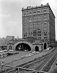 """Pittsburgh PA:  Pennsylvania Railroad's Pittsburgh Penn Station.  During the 1950s and early 1960s, Brady Stewart Studio was the """"on-call"""" photographer for the Pennsylvania Railroad in Pittsburgh.  On a daily basis, there were calls on accidents, Public Relations events and internal meetings, and award ceremonies."""