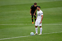 LOS ANGELES, CA - OCTOBER 25: Francisco Ginella #8 of LAFC and Sebastian Lletget #17 of the Los Angeles Galaxy during a game between Los Angeles Galaxy and Los Angeles FC at Banc of California Stadium on October 25, 2020 in Los Angeles, California.