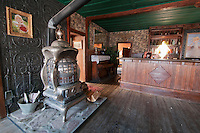 Wood stove in the dining room of the American Hotel, built in 1871 at Cerro Gordo, a mining community in the Inyo Mountains near Keeler, California