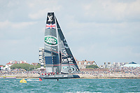 25 July 2015: Land Rover BAR races in front of the crowds during the America's Cup first round racing off Portsmouth, England (Photo by Rob Munro)