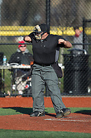 The home plate umpire calls a batter out on strikes during the NCAA baseball game between the Rutgers Scarlet Knights and the Iona Gaels at City Park on March 8, 2017 in New Rochelle, New York.  The Scarlet Knights defeated the Gaels 12-3.  (Brian Westerholt/Four Seam Images)