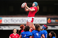 Gwen Crabb of Wales claims the lineout during the Women's six nations championship match between the Wales and Italy at Cardiff Arms Park in Cardiff, Wales, UK. Sunday 02 February 2020