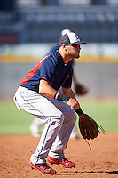 Cleveland Indians Jonathan Laureano (8) during an Instructional League game against the Kansas City Royals on October 11, 2016 at the Cleveland Indians Player Development Complex in Goodyear, Arizona.  (Mike Janes/Four Seam Images)