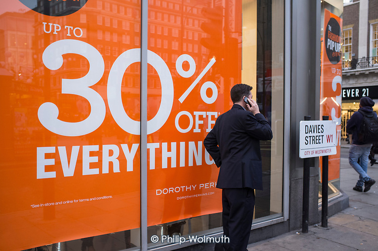 Sale at a Dorothy Perkins store in Oxford Street, London, during the Christmas shopping season.